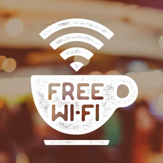 Cafe Bar Coffee Shop Free WiFi Sign Sticker Window Vinyl Decal Coffee cup