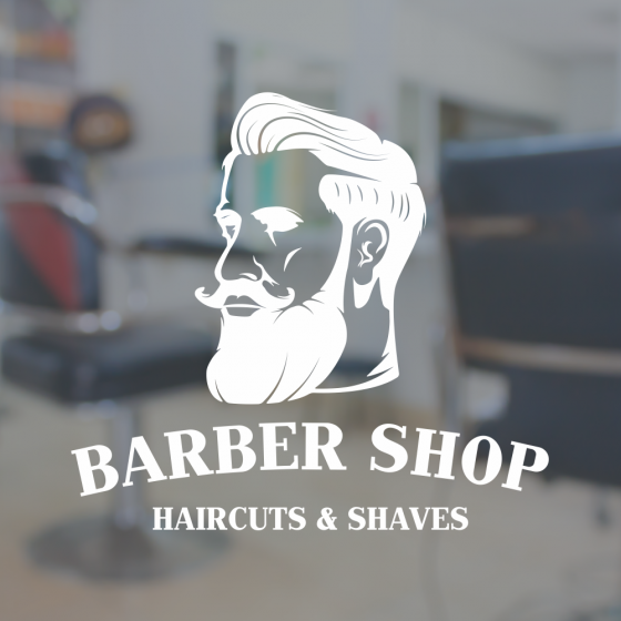 An image of Barber Shop Window Sign - Beard
