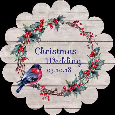 wedding label robin and wreath design sticker gizmo