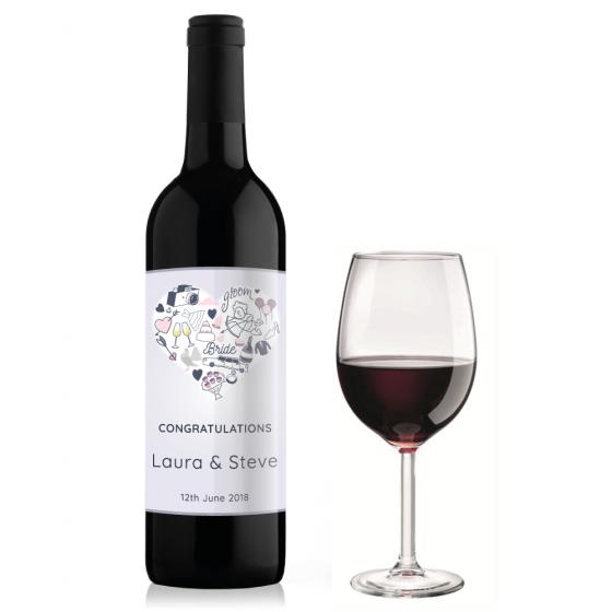 Doodle Heart Wine Bottle Label Design Sticker Gizmo