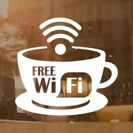 Free Wifi Coffee Mug Window Vinyl Sign - Design 2