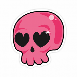 Pink Love Skull Vinyl Sticker