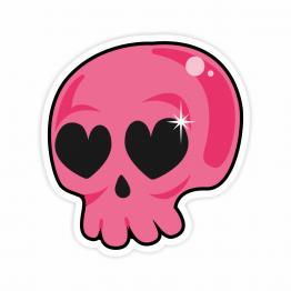 Pink Love Skull Vinyl Sticker