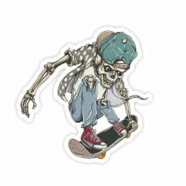 Skateboarding Skeleton Vinyl Sticker