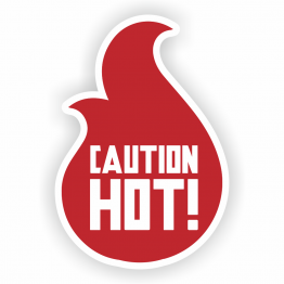 Caution Hot! Custom Shape Stickers