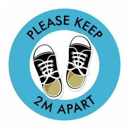 Keep 2M Apart Kicks Floor Stickers