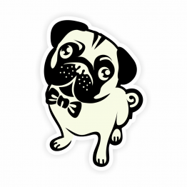 Pug and Bow Tie Vinyl Sticker