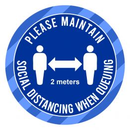 Social Distancing - When Queuing Blue