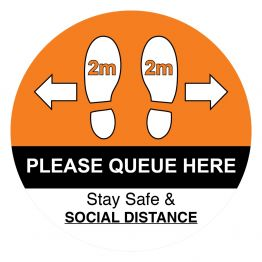 Social Distancing - When Queuing Orange