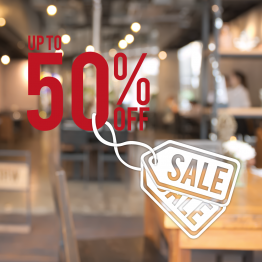 Up to 50% Off Sale Window Sticker