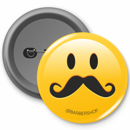 Personalised Button Badge - Barber Shop Smiley Design