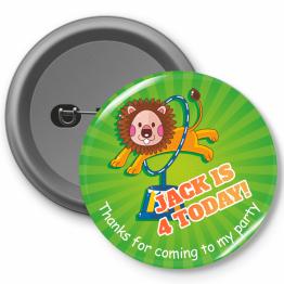 Personalised Birthday Badges - Lion Circus Design