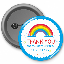 Personalised Birthday Button Badge - Rainbow Thank You Design