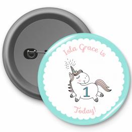 Personalised Birthday Button Badge - Unicorn Design