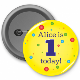 Personalised Birthday Badges - Yellow Spotty Design