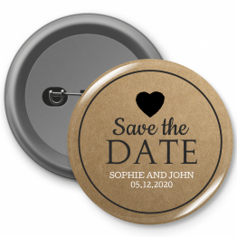 Personalised Button Badge - Save the Date Heart Design