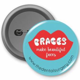 Personalised Dentist button Badges - Braces Design