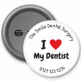 Personalised Dentist Button Badges - I Heart My Dentist