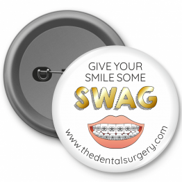 Personalised Dentist Button Badges - Swag Braces Design