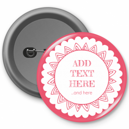 Personalised Button Badge - Pink Flower Design