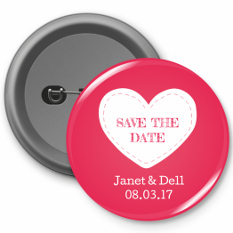 Personalised Button Badge - Pink Save the Date Design