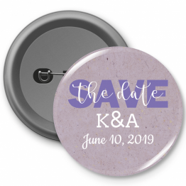 Personalised Button Badge - Purple Save the Date