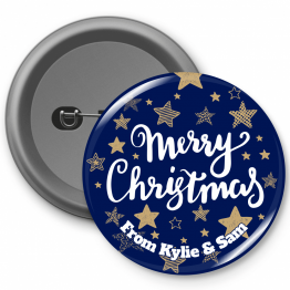 Personalised Button Badge - Navy Merry Christmas Design