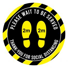 Social Distancing - Please Wait Yellow & Black