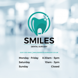 Dentist Opening Times Window Decal