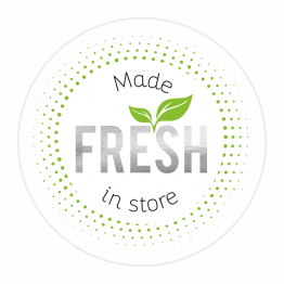 Made FRESH in Store White and Silver Stickers