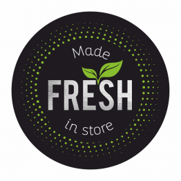 Made FRESH in Store Black and Silver Stickers