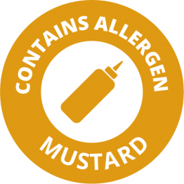 Allergen Labels - Contains Mustard - 35mm Single Sheet