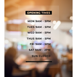 Black Opening Times Window Decal