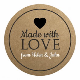 Made with Love Product Label - Black Heart Design