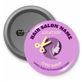 Personalised Button Badge - Pink Hair Salon
