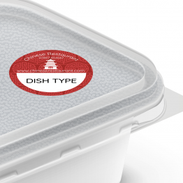 Chinese Takeaway Label - Red Pattern Dish