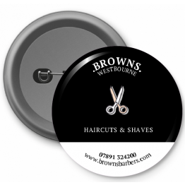Personalised Button Badge - Browns Barbers