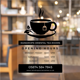 Tea Cup Minimal Opening Hours Window Decal
