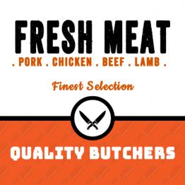 Butcher Sticker - Fresh Meat Square Sticker (Orange)