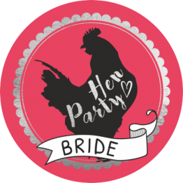 Hen Party Pink Banner Sticker Design