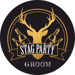 Stag Party Black and Gold Sticker Design