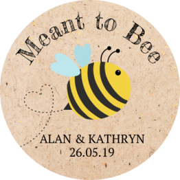 Meant to Bee Brown Paper Effect Wedding Stickers