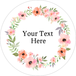 Beauty Product Label - Clear Floral Wreath Design