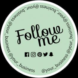 Follow Me Social Media Sticker Design