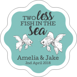 Two Less Fish Save the Date Sticker Design