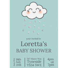 Baby Shower Glitter Rain Postcard Design
