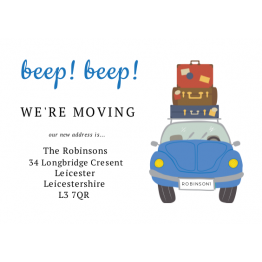 Beep! Beep! We're Moving Postcard Design