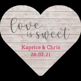 Love Is Sweet Wooden Heart Sticker