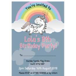 Unicorn Birthday Party Invitation Postcard