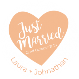 Just Married Peach Heart Car Window Sticker